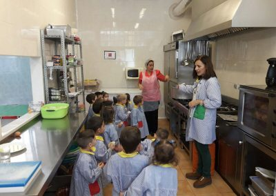 Infantil visita la cocina del comedor