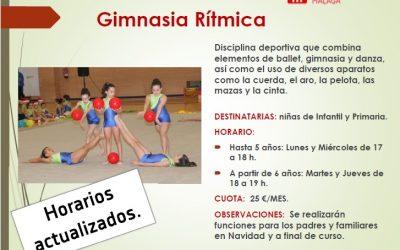 Actualización de horarios de Gimnasia Rítmica