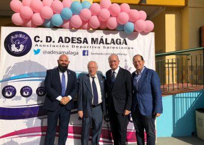 De Derecha a Izquierda: Ricardo Bandrés (vice presidente de la FAB y delegado en Málaga de la FAB), Francisco de la Torre (Alcalde de Málaga), Antonio Gil (Director de la Obra Salesiana de Málaga) y Francisco Naranjo (Presidente del CD ADESA MALAGA)