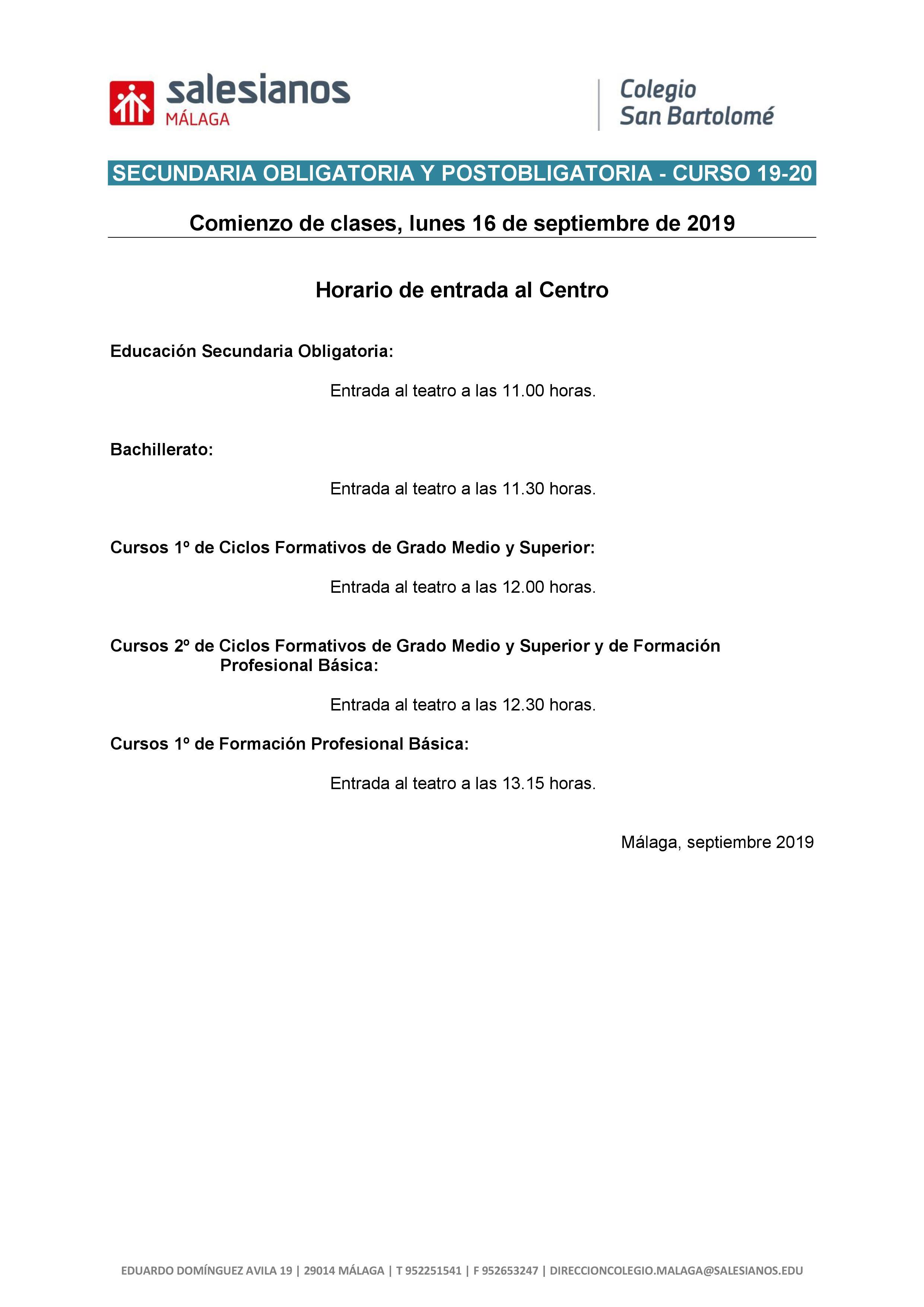 Comienzo De Curso Para Educación Secundaria Salesianos Málaga