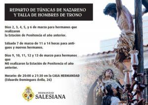 Hermandad Salesiana: Reparto de túnicas de nazareno y talla de hombres de trono.