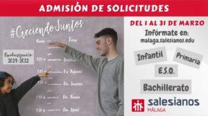 ESCOLARIZACIÓN 21/22: admisión de solicitudes para Infantil, Primaria, ESO y Bachilleraro.