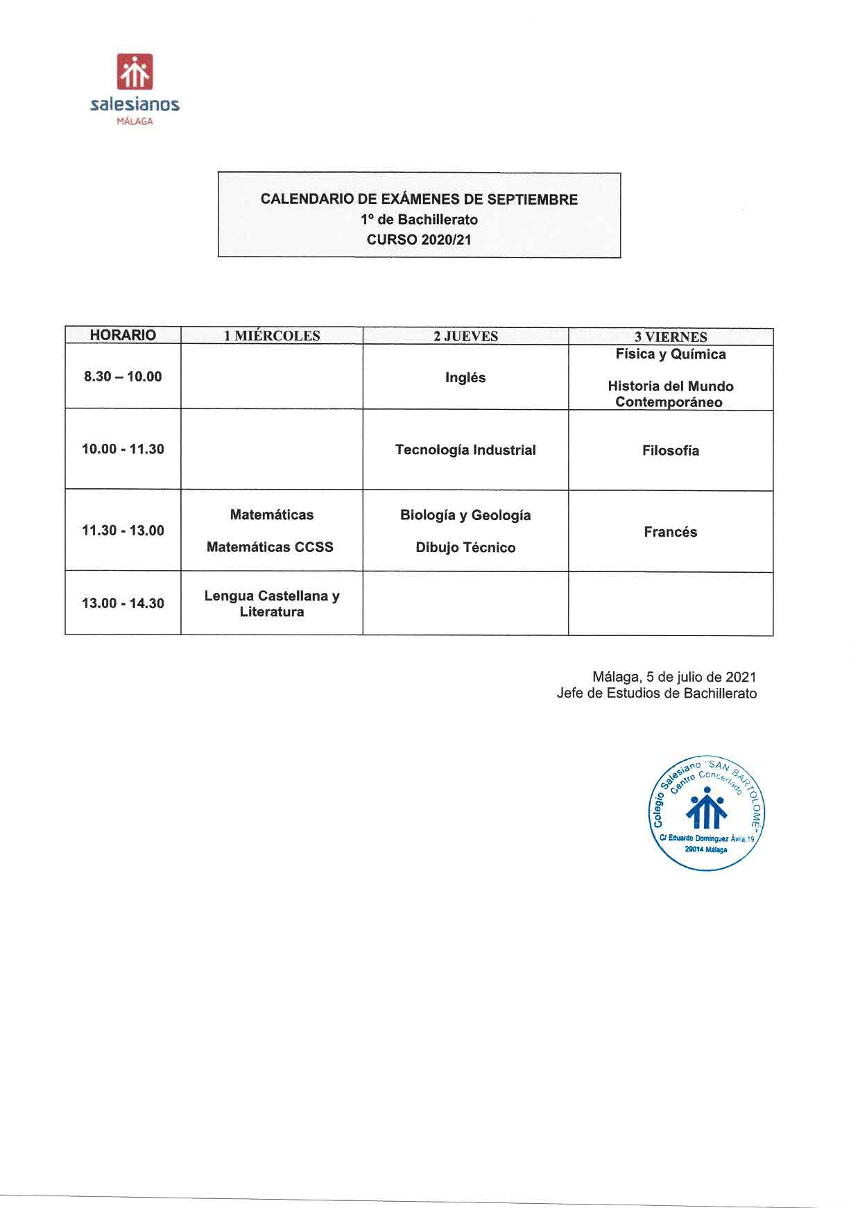 Exámenes Septiembre 2021. 1º de Bachillerato.